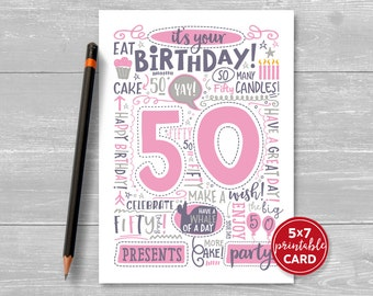 "Printable 50th Birthday Card - Doodled Fifty Birthday Card in Pink - 5""x7"" plus printable envelope template. Instant Download."