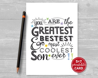 "Printable Birthday Card For Son - Most Coolest Son Ever - 5""x7""- Includes Printable Envelope Template - Instant Download"