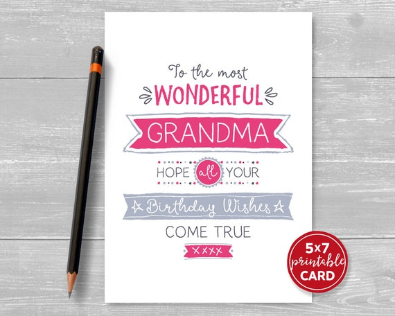 Printable Birthday Card For Grandma To The Most Wonderful