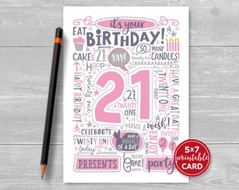 "Printable 21st Birthday Card - Doodled Twenty One Birthday Card in Pink - 5""x7"" plus printable envelope template. Instant Download."