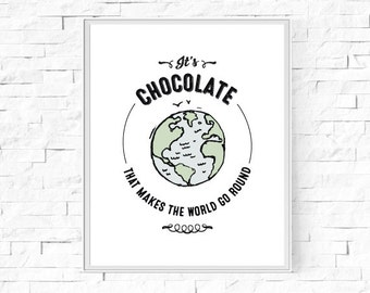 """Printable It's Chocolate That Makes The World Go Round Print - Chocolate Lover Gift - Instant Download - Wall Art - 8""""x10"""" and A4."""