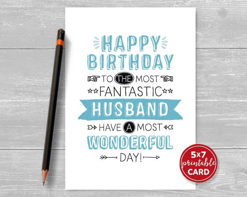 Printable Birthday Card For Husband Happy To The