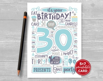 """Printable 30th Birthday Card - Doodled Thirty Birthday Card in Blue - 5""""x7"""" plus printable envelope template. Instant Download."""