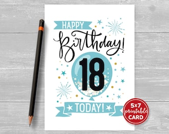 "Printable 18th Birthday Card in Blue- Happy Birthday 18 Eighteen Today! for him- 5""x7"" plus printable envelope template. Instant Download."