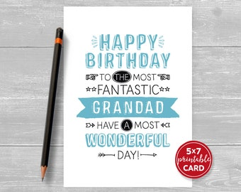 "Printable Birthday Card For Grandad - Happy Birthday To The Most Fantastic Grandad, Have A Most Wonderful Day! - 5""x7""-  Envelope Template"