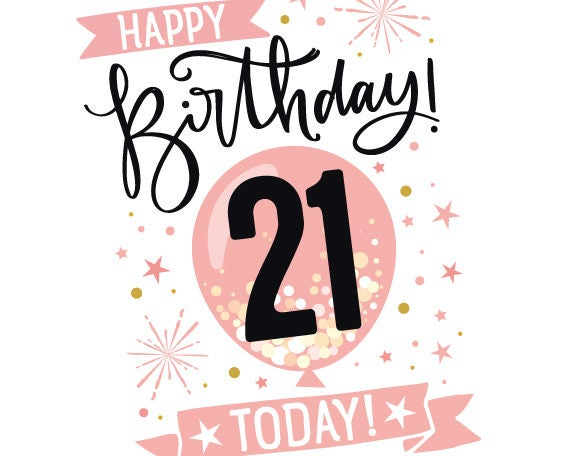 picture relating to 21st Birthday Cards Printable named Printable 21st Birthday Card in just Red - Content Birthday 21 Presently! - 21st Card For Her - 5\