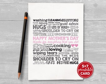 """Printable Card For Mum or Mom - Happy Mother's Day, thanks for everything that you do! - 5""""x7""""- includes printable envelope"""