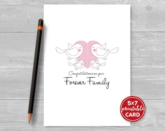 "Printable Adoption Card - Congratulations On Your Forever Family - Bird Family - 5"" x 7"" - Includes Printable Envelope Template"