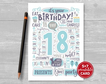 "Printable 18th Birthday Card - Doodled Eighteen Birthday Card in Blue - 5""x7"" plus printable envelope template. Instant Download."