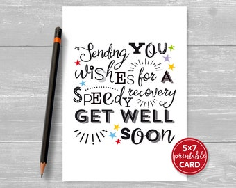 "Printable Get Well Card - Sending You Wishes For A Speedy Recovery, Get Well Soon - 5"" x 7""- Includes Printable Envelope Template"