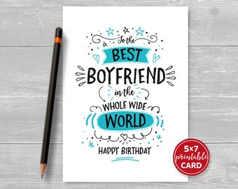 "Printable Birthday Card For Boyfriend - To The Best Boyfriend In The Whole Word Happy Birthday - 5""x7""- Plus Printable Envelope Template"