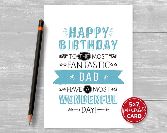 Printable Birthday Card For Dad Happy To The Most
