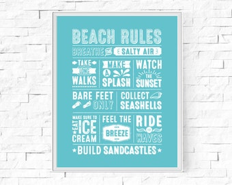 "Printable Beach Rules Typography Print - Word Poster - Home Seaside Decor - Instant Download - Contemporary Wall Art - 8""x10"" and A4."