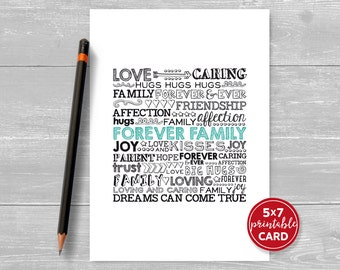 "Printable Adoption Card - Forever Family Text Card - Dreams Can Come True - 5"" x 7"" - Includes Printable Envelope Template"