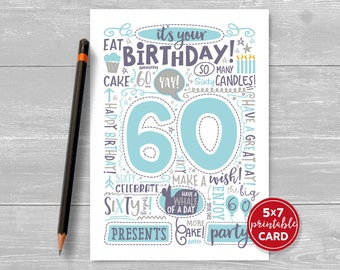 "Printable 60th Birthday Card - Doodled Sixty Birthday Card in Blue - 5""x7"" plus printable envelope template. Instant Download."