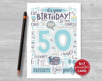 "Printable 50th Birthday Card - Doodled Fifty Birthday Card in Blue - 5""x7"" plus printable envelope template. Instant Download."
