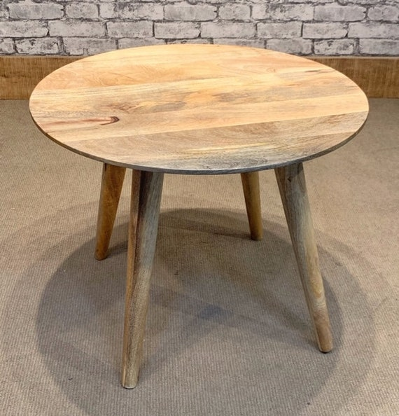 Mantis Solid Mango Wood Fruitwood Round Coffee Table On 4 Tapered Legs Mant 6011m