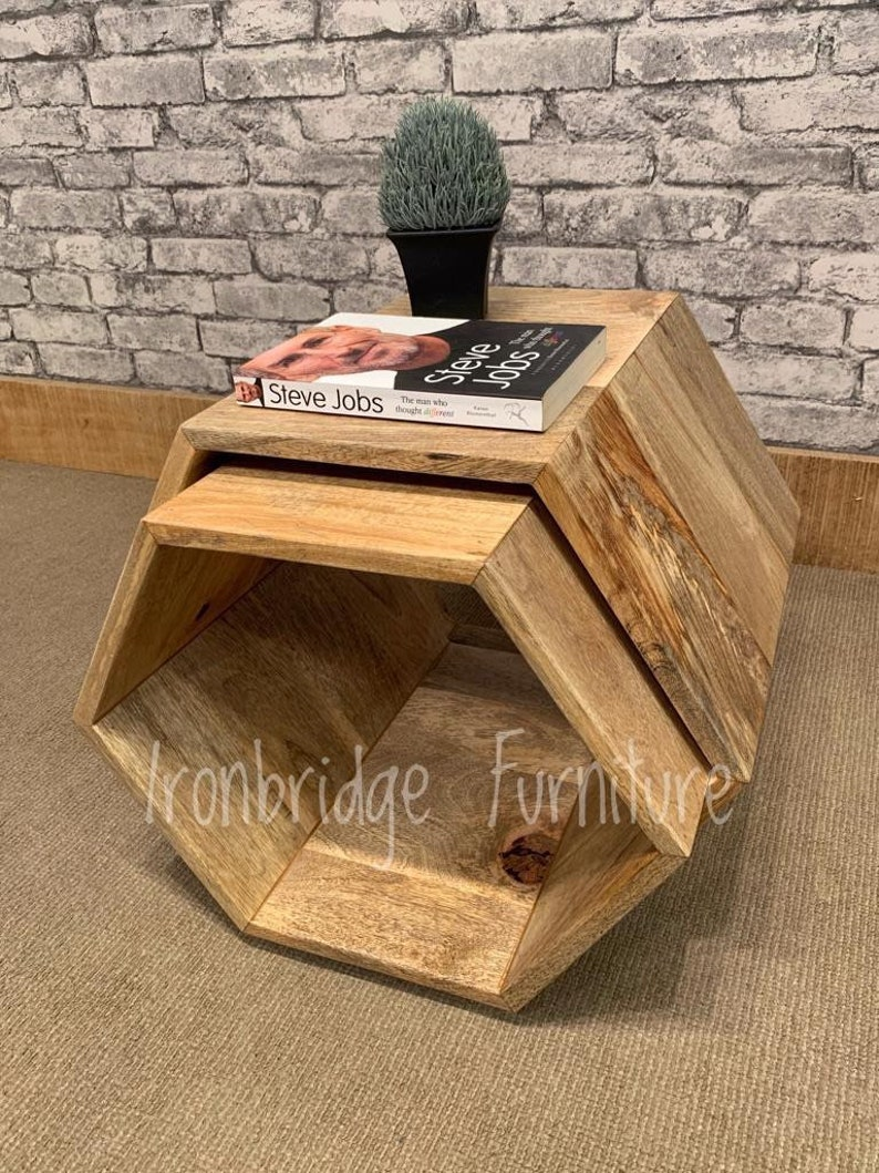 Hexagon Shaped Open Nest Of 2 Tables Made From Solid Mango Fruitwood Wood Mant 6005 Also Available In A Darker Wood Pls See Other Listings