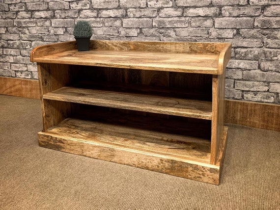 Natural Solid Mango Wood Slim Hall Shoe Storage Bench Seat Chair 79cm Wide Mant 3019