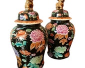 Pair of Famille Noire Ginger Jars on Rosewood Stands - Rare. FREE SHIPPING