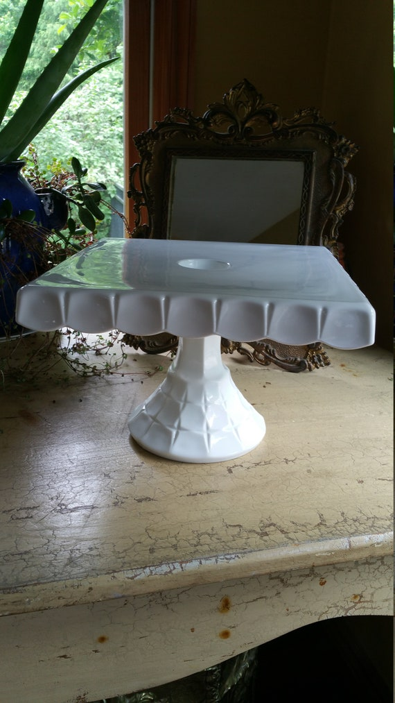 Vintage Indiana Glass Co Square Milk Glass Cake Stand With Etsy