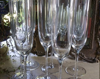 Vintage Champagne Glasses; Set of 8; Champagne Fluted Style