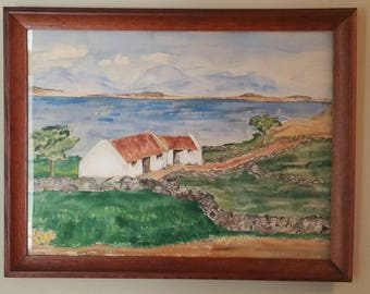 Vintage Water Color Painting; Connemara; Framed Art