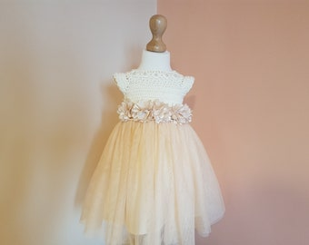 8731112398c SAMPLE SALE ready to ship size 2-3 years gold crochet tutu