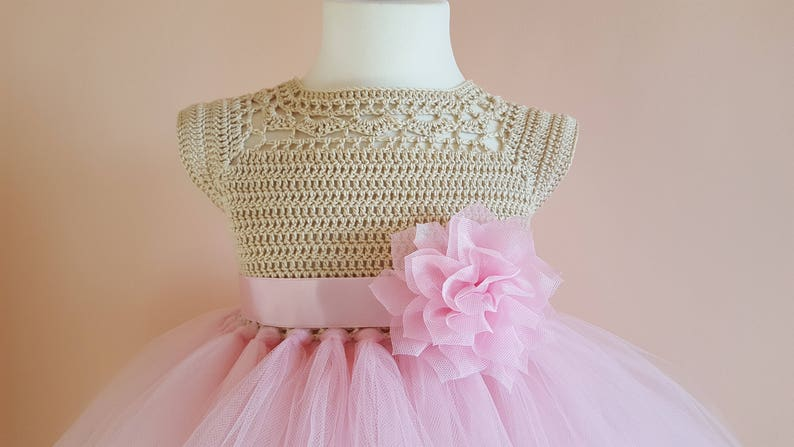 50ebd7836cf Pink and gold tutu dress crochet dress crochet yoke
