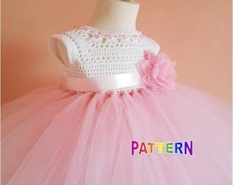 crochet tutu dress pattern, tutu dress pattern, crochet yoke dress pattern (sizes 9-12 months to 4 years old), baby crochet dress pattern