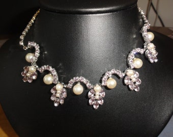 Pink Rhinestone and Pearl Silver Necklace/Choker Costume Jewelry