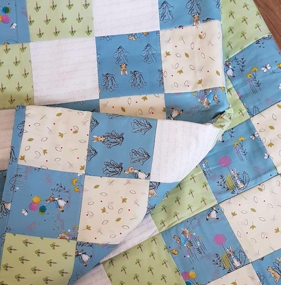 Handmade Peter Rabbit Blue Green Fabric Baby Quilt Playmat Nursery