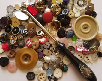 Vintage button lot with sterling button hook