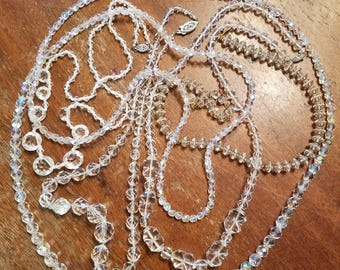 Vintage Crystal Necklace Lot with Nice free bonus gift