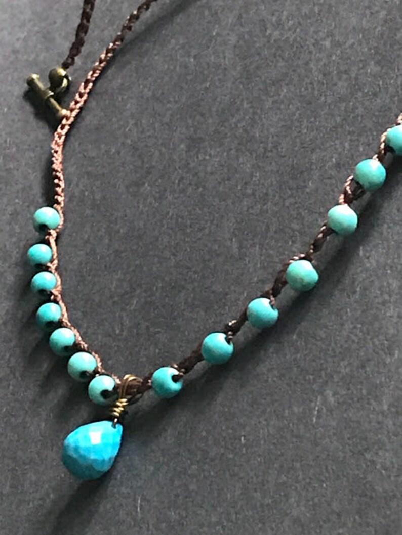 December birthstone,Turquoise necklace,Boho necklace,Crochet knotted necklace,Boho,crochet,Turquoise,Chakra,Birthstone