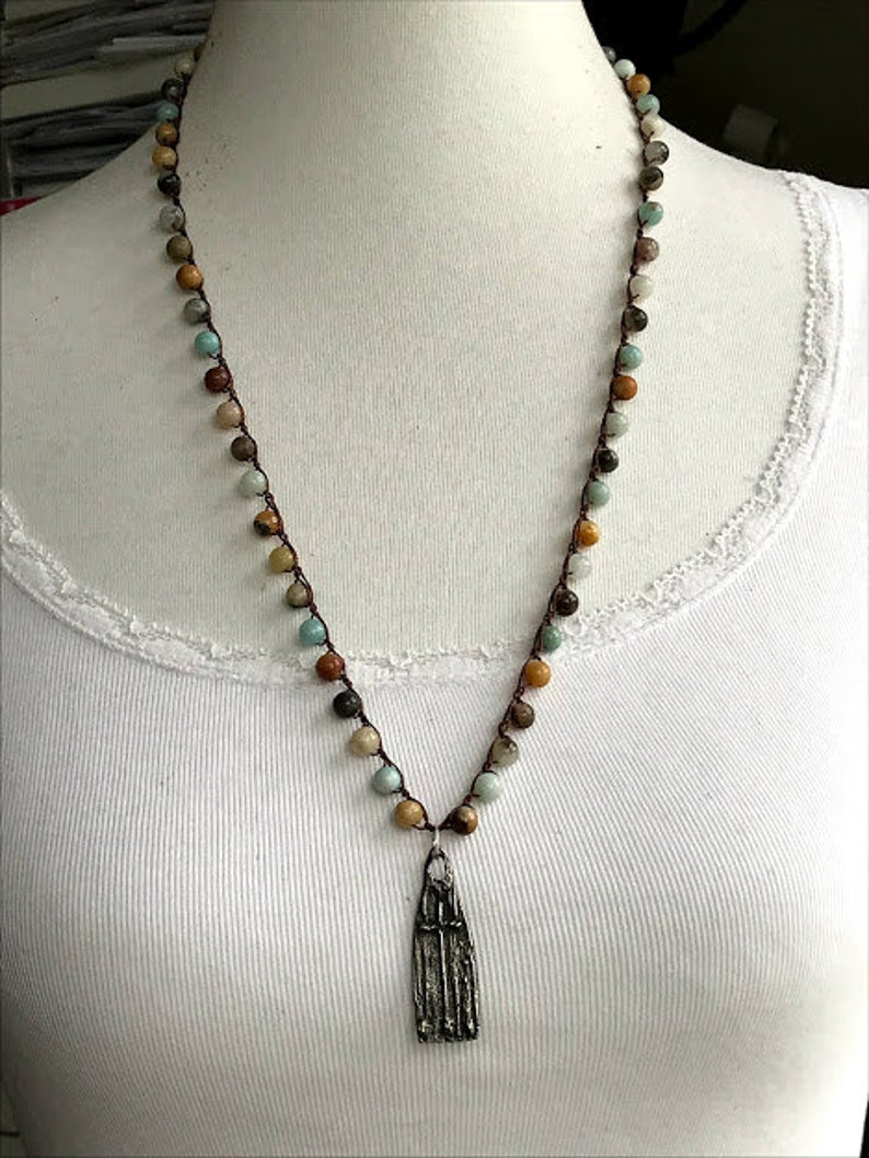 Boho cross necklace;Rustic cross necklace;Amazonite necklace;Inviciti necklace;Long necklace;Crochet knotted necklace;Boho; Faith