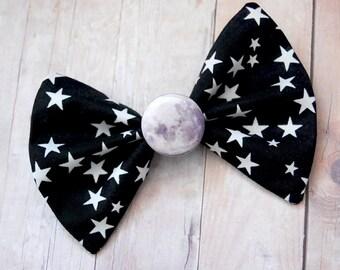 Moon Bow // Full Moon, NIght Sky, White Stars, Evening, Universe