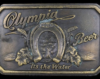 Vintage 70s Olympia Beer Washington Bar Party Booze Belt Buckle w/ Bottle Opener