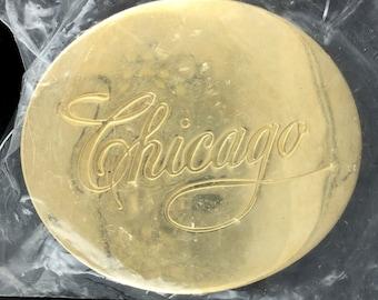 Vintage 1990s Chicago Logo Band Rock Roll Music Group Fan Belt Buckle