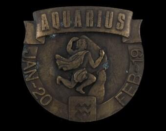Vintage Aquarius January Twentieth Of February 19 Zodiac Sign Horoscope Belt Buckle