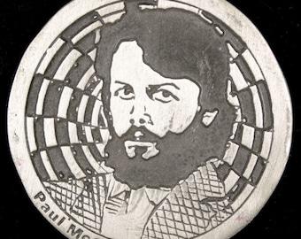 Vintage 1970s Rare Paul McCartney Band Rock n Roll Music Beatles Belt Buckle