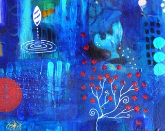 Cobolt Blue Pink Butterfly Dreams-038 Mixed Media Painting by Carianne James