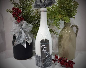 Holiday Decor / Painted Wine Bottle / White and Silver / Cheers / Snowflakes / Winter Decor / New Years Eve Decor / Wine Gift / Handmade