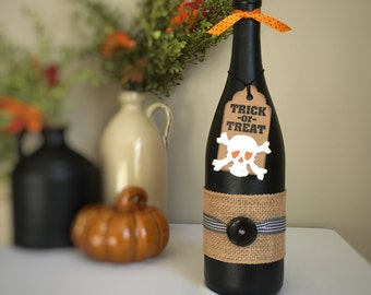 Trick-or-Treat Halloween Wine Bottle Decoration / Black and Orange / Halloween Decor for Home, Office, Dorm, Party, Classroom / Fall Decor