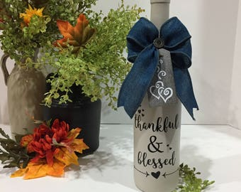 Thankful & Blessed Wine Bottle Decor / Painted Wine Bottle / Denim Blue Color Bow / Hearts / Arrows / Wine Bottle Decor / Special Gift