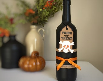 Recycled Wine Bottle Painted Black and Decorated for Halloween / Trick-or-Treat Crossbones and Skull Tag / Black and Orange / Halloween Fun