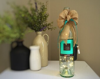 Smart Cookie Wine Bottle Accent Light / Battery Operated LED String Light / Beige Teal Brown / Graduate Gift /  Birthday Gift / Handmade