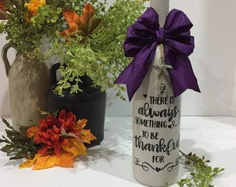 There is Always Something to be Thankful For / Wine Bottle Decor / Painted Wine Bottle / Purple / Starfish Charm / Seashell Charm / Beach