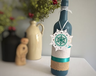 Painted Wine Bottle / Snowflake / Blue Teal White / Winter Holiday Decor / Winter Party Decor / Blue Christmas Decor / Wine Lover Gift