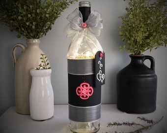 Wine Bottle Light/Battery Operated/Pink Black Silver/Chalk Board/Country Chic Decor/Hearts and Swirls/Wine Lover Gift/Mother's Day Gift
